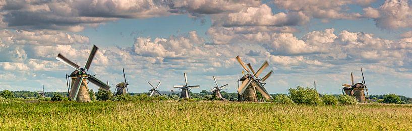 Panorama des moulins à vent de Kinderdijk sur Frans Lemmens