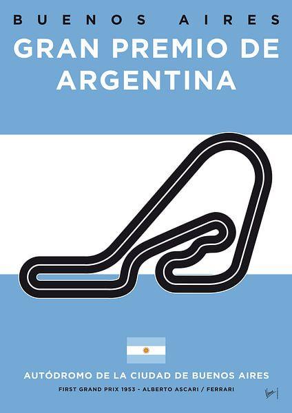 My F1 Buenos Aires Race Track Minimal Poster van Chungkong Art