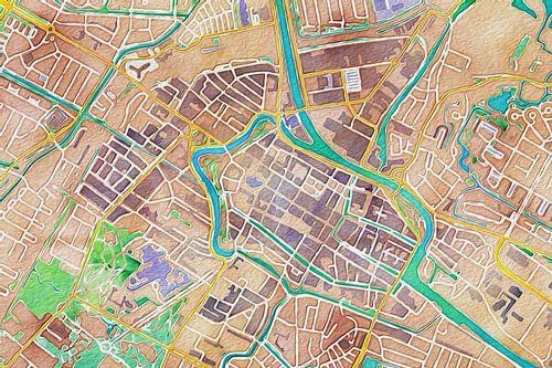 Kleurrijke kaart van Alkmaar van