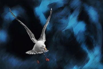 Zeemeeuw met gespreide uitslaande vleugels van Jan Brons