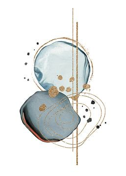 Abstracte Aquarel Vormen Met Blauw En Goud Kleuren van Diana van Tankeren
