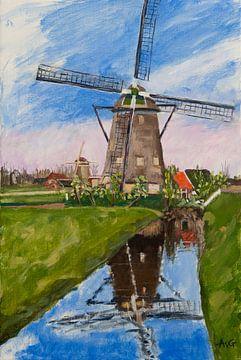 Mühle im Maasland von Antonie van Gelder Beeldend kunstenaar