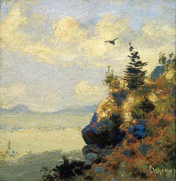 Louis Eilshemius, Zomer landschap met havik - 1906 van Atelier Liesjes