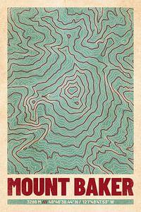 Le Mont Baker | Topographie de la carte (Retro)