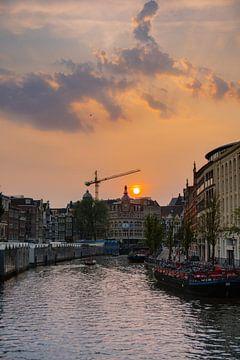 Blumenmarkt Sonnenuntergang Amsterdam von Alex van der Aa