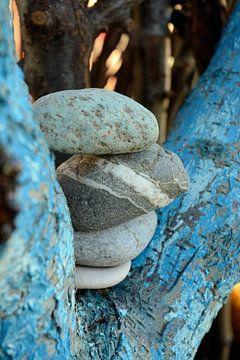 Pile de pierres zen dans un arbre peint à l'eau sur Trinet Uzun