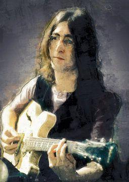 John Lennon peinture à l'huile sur Bert Hooijer