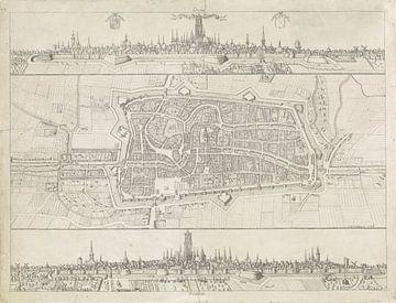 Plattegrond en profiel van de stad Utrecht, Adam van Vianen (I), 1598