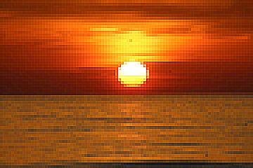 Zonondergang Pixel van Geert Heldens