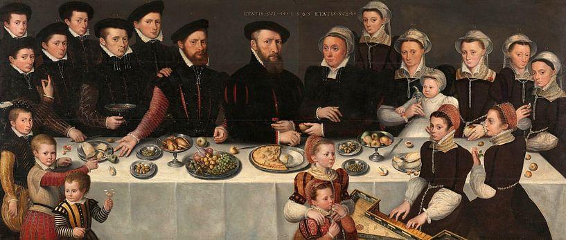 Pierre de Moucheron, his Wife, their eighteen Children, and more, anonymous von Meesterlijcke Meesters
