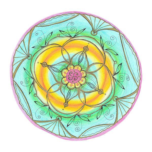 "Mandala ""Lebensfreude"" handgemalt van Sylvia Polis"