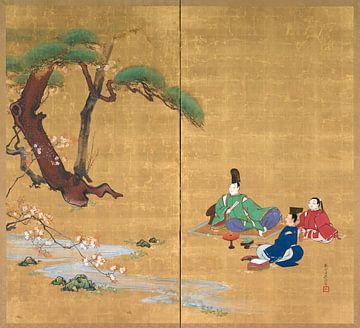 Shibata Zeshin - Narihira De kersenbloesems bekijken