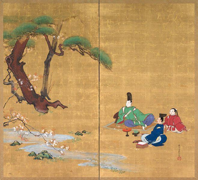 Shibata Zeshin - Narihira Sehen Sie sich die Kirschblüten an von 1000 Schilderijen