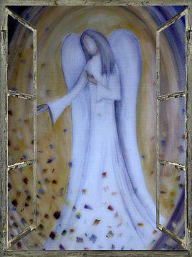 Raamaanzicht - blauwe engel van Christine Nöhmeier