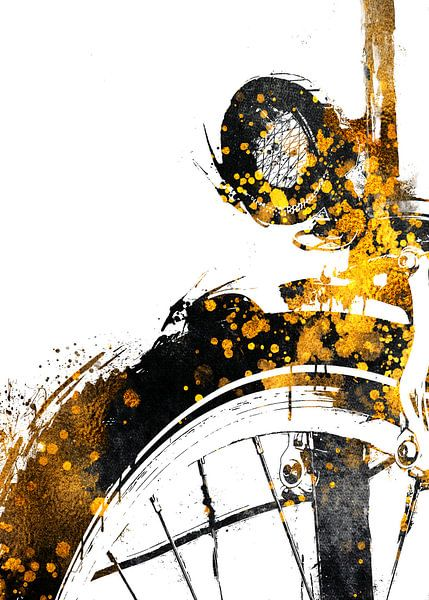 Radfahren Fahrrad Sport Kunst Gold und schwarz #cycling #bike von JBJart Justyna Jaszke