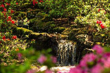 kleine Waterval met bloemen er om heen in keukenhof van Margriet Hulsker