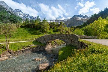 Berglandschaft mit Schneebergen in den Pyrenäen von Rob IJsselstein