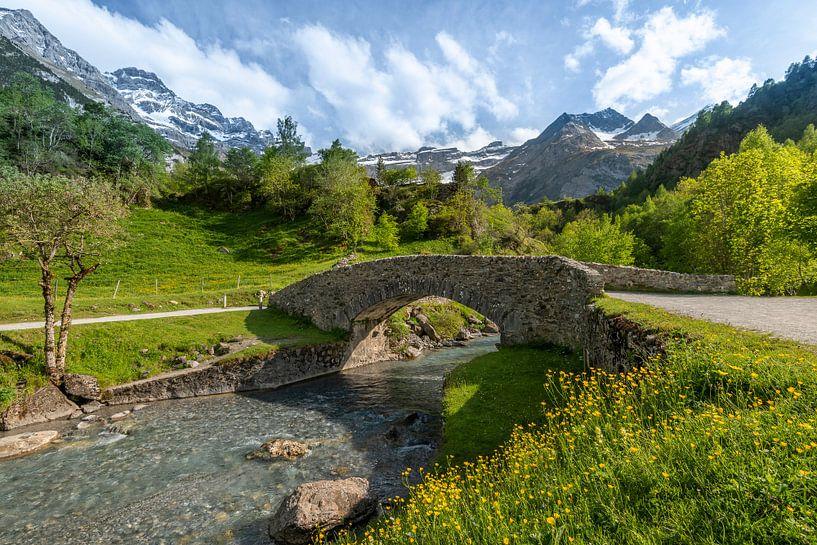 Berglandschap met sneeuwbergen in de Pyreneeën van Rob IJsselstein