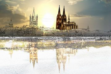 de kathedraal van Keulen met volle maan van Stefan Havadi-Nagy