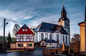 Kirche in Drebach / Erzgebirge zur Goldenen Stunde von Johnny Flash