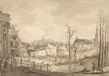 Ruinen nach der Schießpulver-Katastrophe in Leiden, Pieter Gerardus van Os