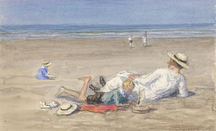 Rustend kindermeisje met twee kinderen op het strand, Johan Antonie de Jonge von Meesterlijcke Meesters