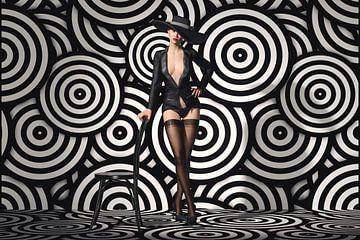 Verführerischer Striptease in Schwarz und Weiß