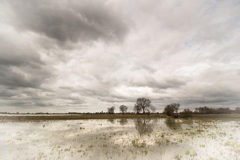 Dreigende luchten boven de uiterwaarden van Marcel Keurhorst