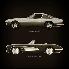 Ferrari 250GT Lusso 1963 et Chevrolet Corvette C1 1960 sur Jan Keteleer