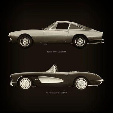 Ferrari 250GT Lusso 1963 en Chevrolet Corvette C1 1960 van Jan Keteleer