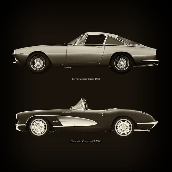Ferrari 250GT Lusso 1963 en Chevrolet Corvette C1 1960