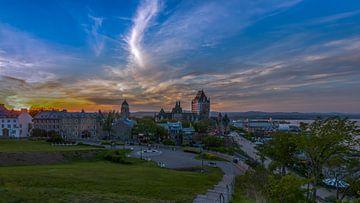 Oude stad van Quebec in het blauwe uur van Maarten Hoek