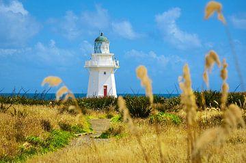 Witte vuurtoren aan de zuidkust, Nieuw Zeeland van Rietje Bulthuis