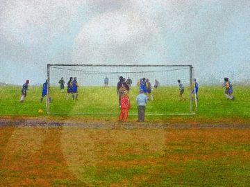 Fußball in Djupivogur, Island von