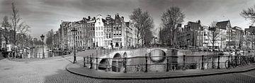 Panorama Keizersgracht Amsterdam in schwarz und weiß von Heleen van de Ven