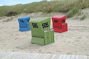 Bunte Strandkörbe auf Langeoog von Jörg Sabel - Fotografie