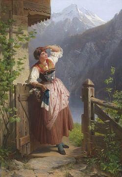 Meisje op de uitkijk, PETER BAUMGARTNER, 1871 van Atelier Liesjes