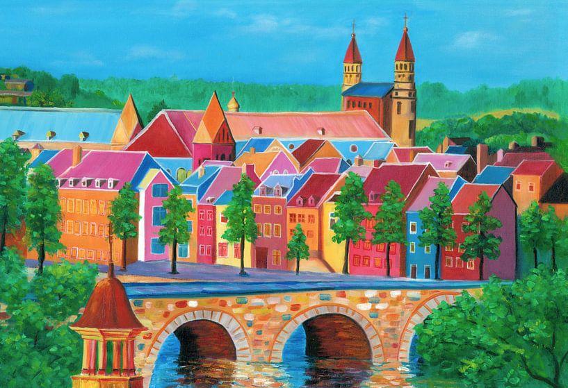 Maastricht schilderij met oude brug sint servaasbrug en zicht op