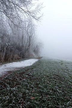 Winter en mist, Grou Friesland von Jakob Huizen van