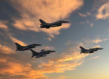 F16 Militair Gevechtsvliegtuig.