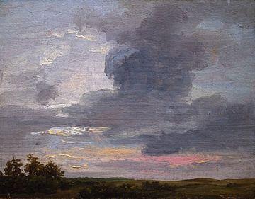 Wolkenstudie über flacher Landschaft, Johan Christian Dahl