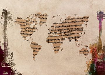 Weltkarte 46 Musikwelt #Karte #Weltkarte von JBJart Justyna Jaszke