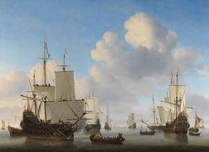 Zee schilderij: Hollandse schepen op een kalme zee, Willem van de Velde (II), ca. 1665  van