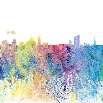 Leipzig Duitsland Skyline Silhouette Impressionistisch van Markus Bleichner