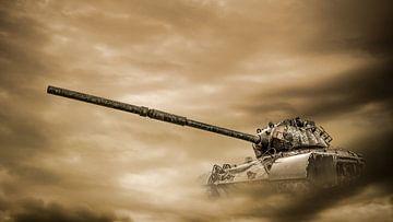 Oude tank in zandstorm van Günter Albers