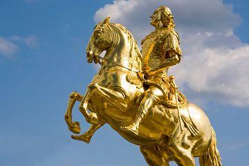 Gouden ruiter in Dresden van Werner Dieterich