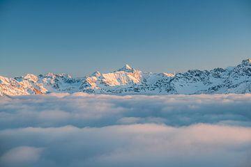 Alpengloren over de Hochvogel en de Allgäuer Alpen van Leo Schindzielorz
