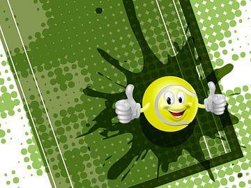 Tennisball auf grünem Tennis-Hintergrund von Henny Hagenaars