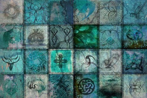 Collage turquoise, digitale kunst