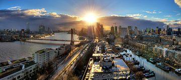 Rotterdam zonsondergang panorama von Dennis van de Water